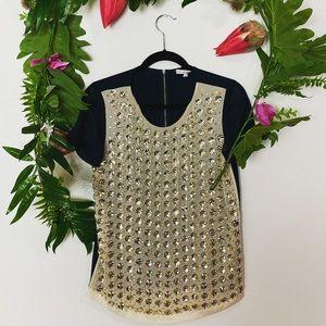 $398 Diane Von Furstenburg embellished blouse sz 4